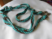 HAND BRAIDED PARACORD BARREL HORSE OR TRAIL REINS TURQUOISE & BROWN FREE SHIP