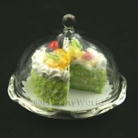 Glass Cake Stand (A) & Cut Cake Dolls House Miniatures