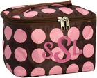 PERSONALIZED Cosmetic Bag Tote Lunch Brown Pink Dots