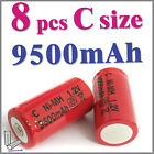 8 x C size 1.2V 9500mAh Ni-MH rechargeable battery Red