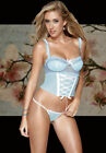 Sexy Lingerie Blue Polka Dot Padded Bustier w Thong