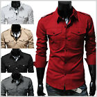 (N316) THELEES Unique Mens casual slim fit strap big pocket Basic shirts