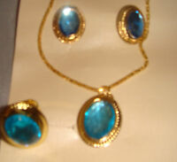 Lovely Gold Necklace, Earring & Ring Set In Blue