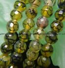 """6mm Faceted Green Dragon Veins Agate Round Beads 15"""""""