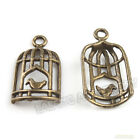 40x Cute Antique Bronze Birdcage Alloy Pendants 140377