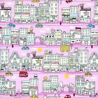1/4 yd Patchwork Fabric Timeless Treasures City Scene on PInk fq