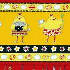 1/4 yd Patchwork Fabric Timeless Treasures C7584 Kitchen Chicks Border fq