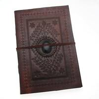 Indra Fair Trade Handmade Hefty Embossed Stoned Leather Journal Notebook Diary