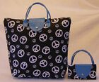 New BLACK w/ White Peace Signs SAK PAK PURSE TOTE HANDBAG w/TURQUOISE TRIM