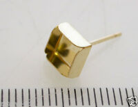 4Pcs x 6mm square bezel cups 14k Gold filled Earring Backs included (8106GF)