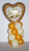 JUST MARRIED WEDDING FOIL GOLD BALLOON DISPLAY TABLE CENTREPIECE DECORATIONS