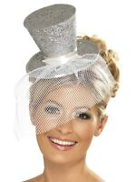 Fever Mini Silver Glitter Top Hat with Veil ~ Burlesque Hen Night ~ Fancy Dress