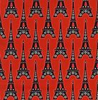 1/4 yd Patchwork Quilting Fabric Timeless Treasures La Tour Eiffel C 8911 Red fq
