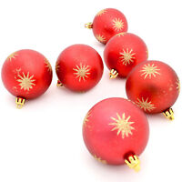 6 x 7cm Red Hanging Christmas Baubles Gold Glitter Star Design Tree Decorations