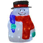 30cm White LED Light Up Cute Snowman With Black Hat Christmas Festive Decoration