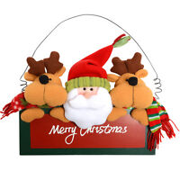 """""""Merry Christmas"""" Plush Santa & Reindeer Painted Wooden Wall Plaque Decoration"""