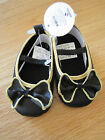 Toddler Baby girl BLACK Gold Bow dressy maryjanes crib shoes NWT 3m 6m