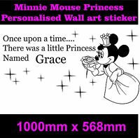 Personalised Princess minnie mouse Girls bedroom sticker wall art   ++Any Name++