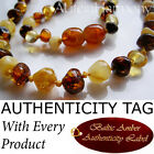 Genuine Baltic Amber Baby Teething Necklace Multicolour