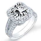 1.81 Ct. Radiant Cut Pave Diamond Halo Engagement Ring 14K Gold D,VS1 GIA