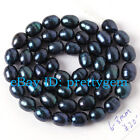 """6-8MM NATURAL OVAL SHAPE BLUE NATURAL FRESHWATER PEARL SPACER BEADS STRAND 15"""""""