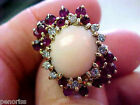 Gorgeous Angel Coral Diamond & Ruby Estate Ring 14k Gold size 8-1/2 Make Offer