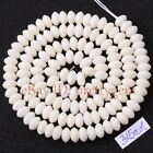 3X5MM NATURAL RONDELLE SHAPE WHITE CORAL GEMSTONE SPACER LOOSE BEADS STRAND 15""