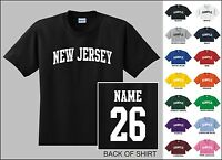 State Of New Jersey Custom Name & Number Personalized Youth T-shirt