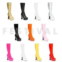 Fancy Dress Platform Boots: Silver, Gold, White, Black, Pink & Red - Size 3 - 11