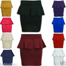 NEW WOMENS LADIES BEAUTIFULL PEPLUM FRILL BODYCON PENCIL MINI SKIRT DRESS 8-14