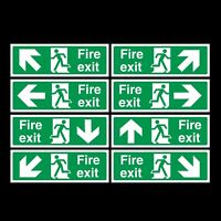 FIRE EXIT SIGNS/STICKERS 300x100mm *FREE P+P* PLASTIC OR STICKER *CHEAP* QUALITY