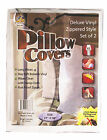 TWO ZIPPERED EXTRA HEAVY VINYL PILLOW COVERS BED BUG PROTECTOR, HYPOALLERGENIC