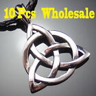 """10 Pcs Celtic Knot Triquetra Trinity Pewter Pendant with 20"""" Necklace WP#234"""