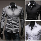MTC79 New Mens Fashion Casual Slim Fit Stylish Dress Shirts 3 Colors XS S M L XL
