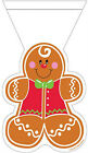 12 x Christmas Gingerbread Man Loot Bags zipper Seal Party treat favour bags
