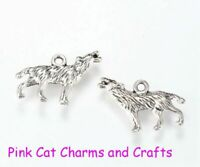 5 x HOWLING WOLF WOLVES HARRY POTTER Tibetan Silver 3D Charms Pendants Beads