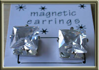 MAGNETIC Square Crystal 8mm Studs Earrings For People Without Pierced Ears