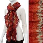 Beautiful Multi Color Red, Orange, Beige Ruffle Knit Scarf