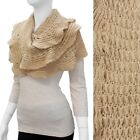 Beautiful Beige Ruffle Edge Knit Loop Scarf / Shawl