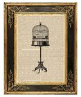 Birdcage on Stand Art Print on Antique Book Page Vintage Illustration Bird Cage