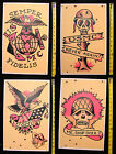 FOUR USMC Military Skull USA Sailor Jerry StyleTraditional Tattoo poster prints