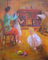 """LEON GOODMAN ORIGINAL OIL ON CANVAS """"The Yellow Doll"""" 1940s Family life PAINTING"""