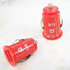 Mini Bullet Dual 2-Port USB Car Charger Adaptor For iPhone 4 4S iPod Touch Red