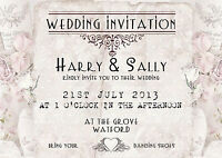 PERSONALISED VINTAGE ROSE & LACE WEDDING INVITATIONS x 10 - SHABBY CHIC STYLE