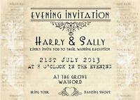 PERSONALISED VINTAGE LACE EVENING WEDDING INVITATIONS x 10 - SHABBY CHIC STYLE