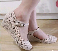 Summer Lady Soft Jelly Rubber Floral Mary Jane Round Toe Wedge Heel Sandal Shoe