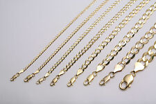 "10k Solid Yellow Gold  Men Women 2mm-10mm  Cuban Link Chain Necklace 16""-36"""