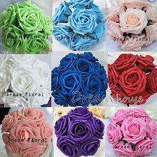 50 Real Touch Roses Wedding  Bridal Bouquet Artificial Flowers Home Party Decor