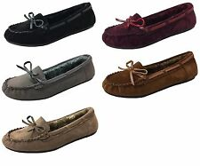Women Moccasin FREE SHIP Faux Suede Indoor Outdoor Shoe Slipper Fur Lined Loafer