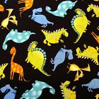 fat quarter Patchwork Fabric Timeless Treasures Bright Dinosaur C 7153 Black fq